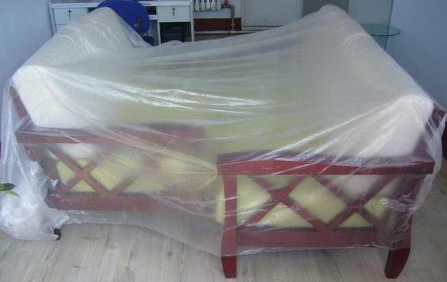 Covering Furniture With Plastic Painting